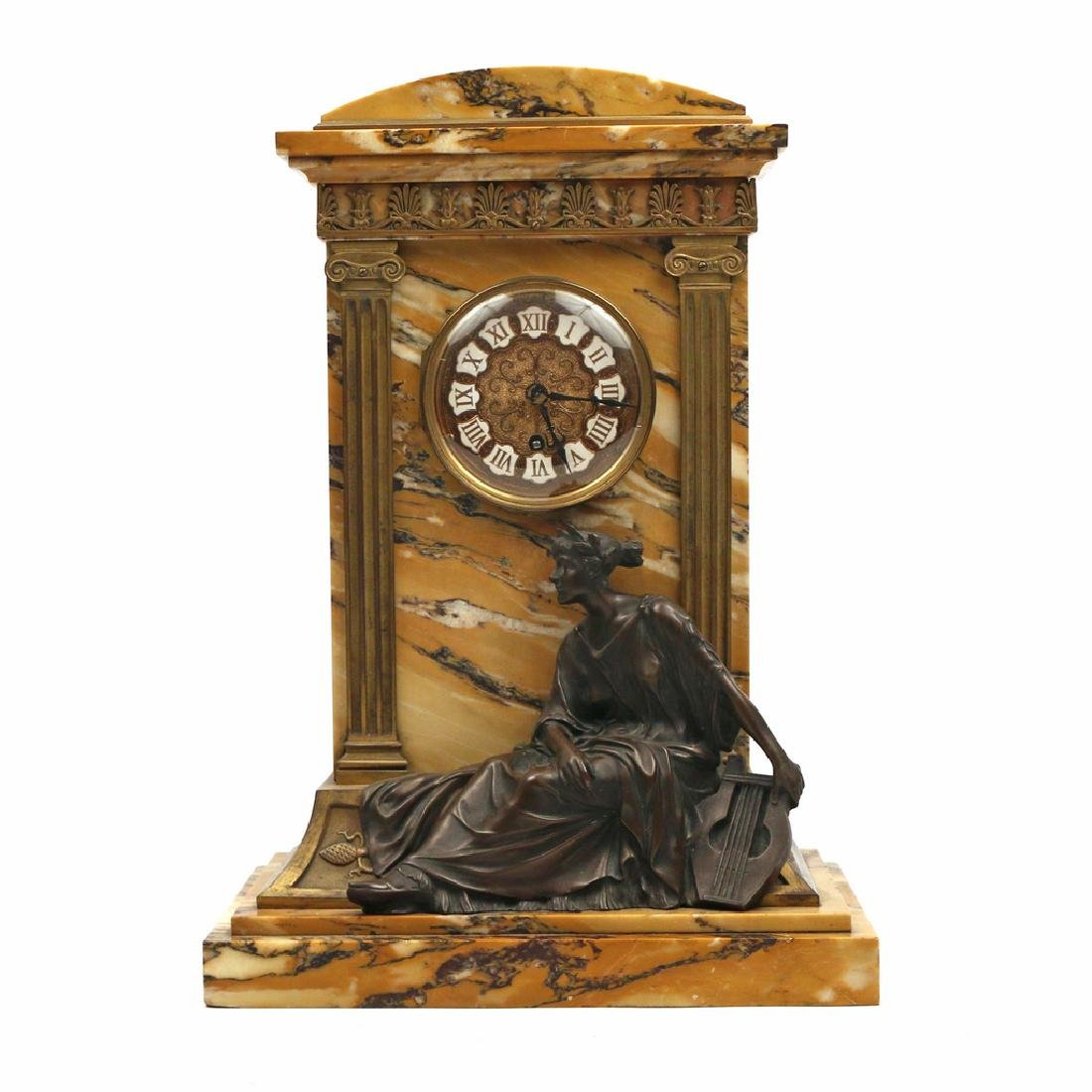 LENZKIRCH MARBLE & BRONZE MANTLE CLOCK