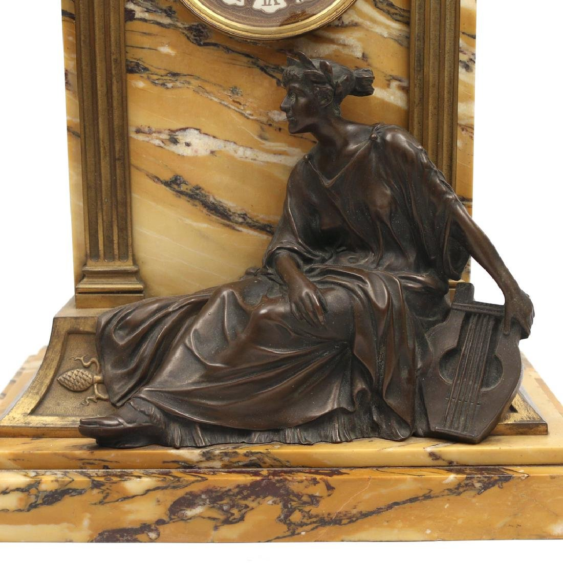 LENZKIRCH MARBLE & BRONZE MANTLE CLOCK - 2