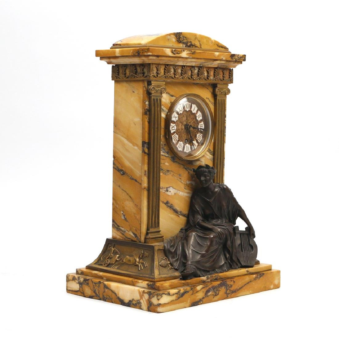 LENZKIRCH MARBLE & BRONZE MANTLE CLOCK - 3