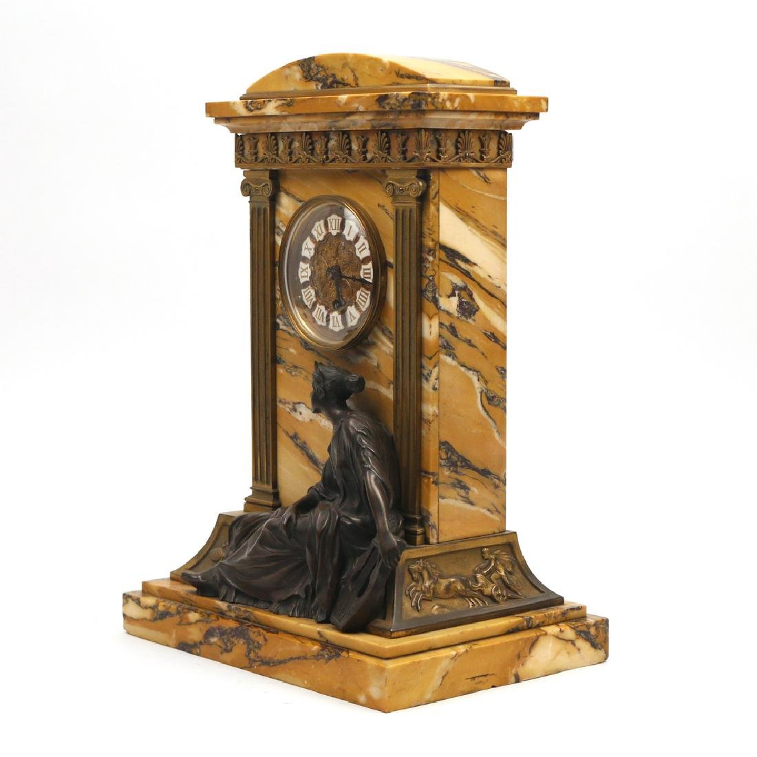 LENZKIRCH MARBLE & BRONZE MANTLE CLOCK - 4