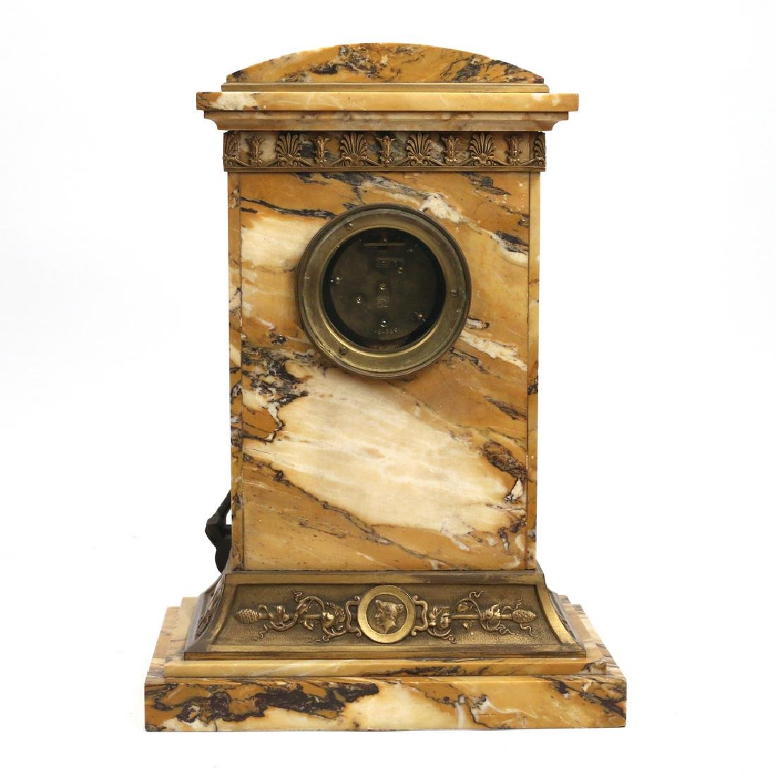 LENZKIRCH MARBLE & BRONZE MANTLE CLOCK - 5