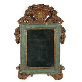 CONTINENTAL GILT-CARVED WALL MIRROR