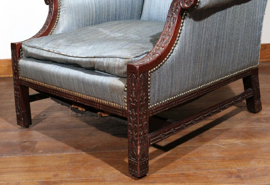 GEORGE II CARVED MAHOGANY LIBRARY CHAIR - 4