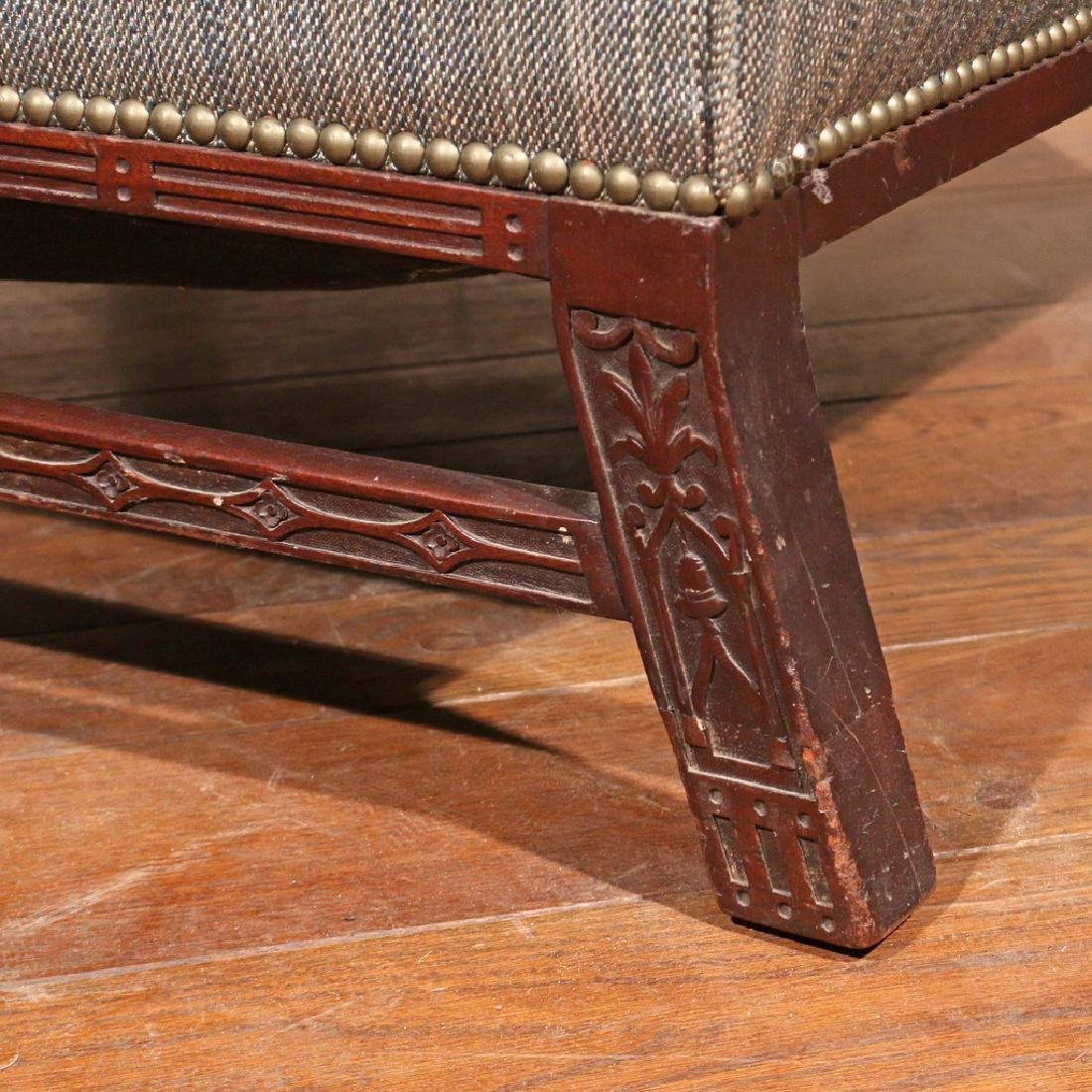 GEORGE II CARVED MAHOGANY LIBRARY CHAIR - 6