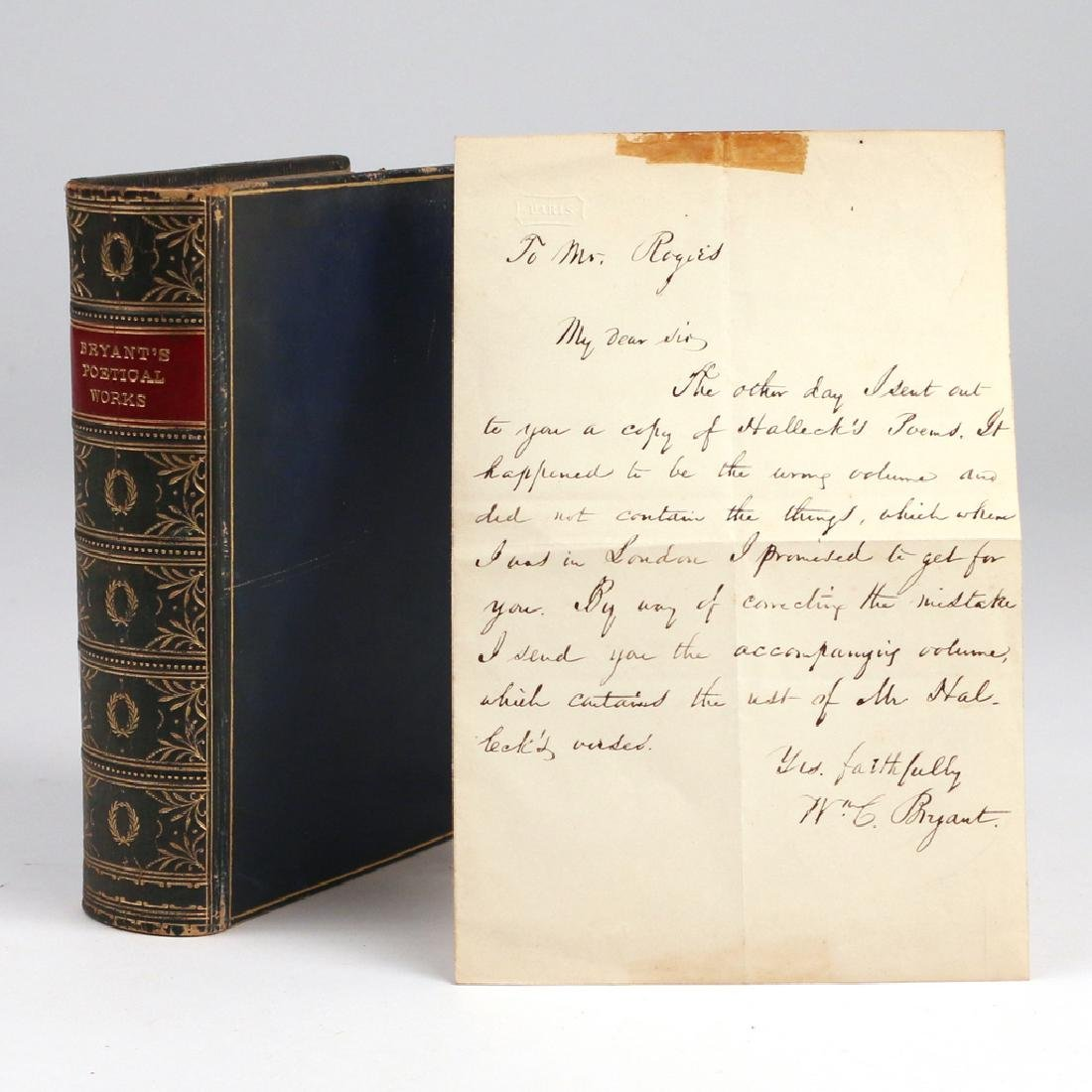 (2pc) WILLIAM CULLEN BRYANT LETTER AND BOOK