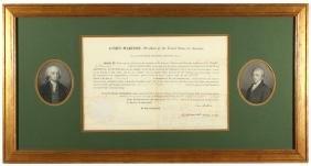 JAMES MADISON & JAMES MONROE SIGNED DOCUMENT