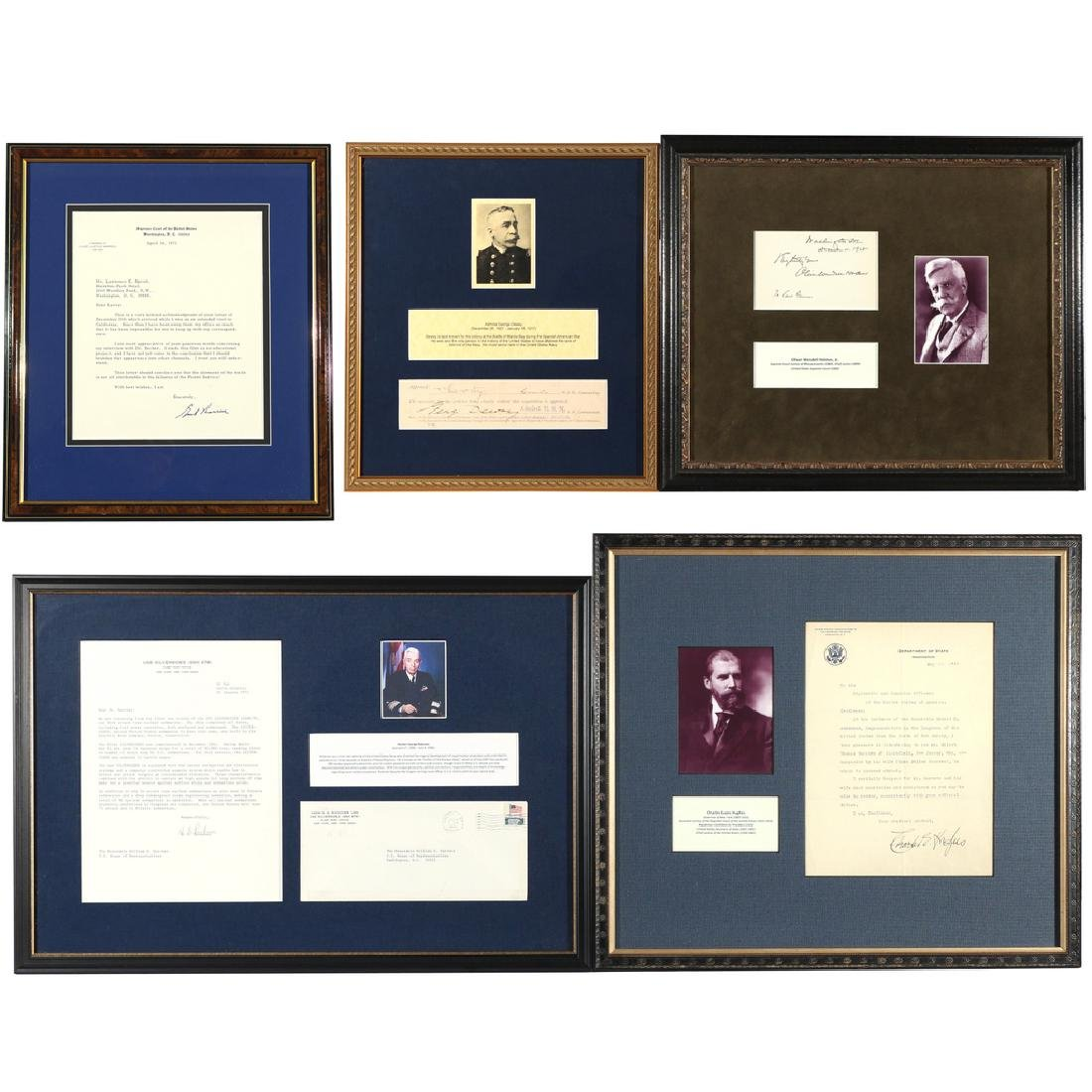 (5pc) U.S. SUPREME COURT & NAVAL AUTOGRAPHS