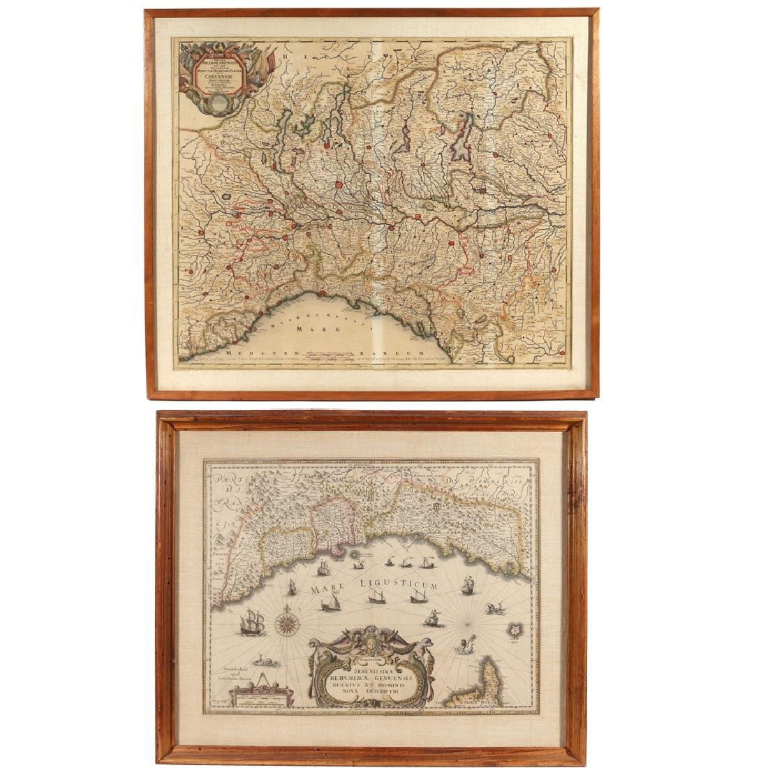(2pc) HAND-COLORED ENGRAVED MAPS OF ITALY