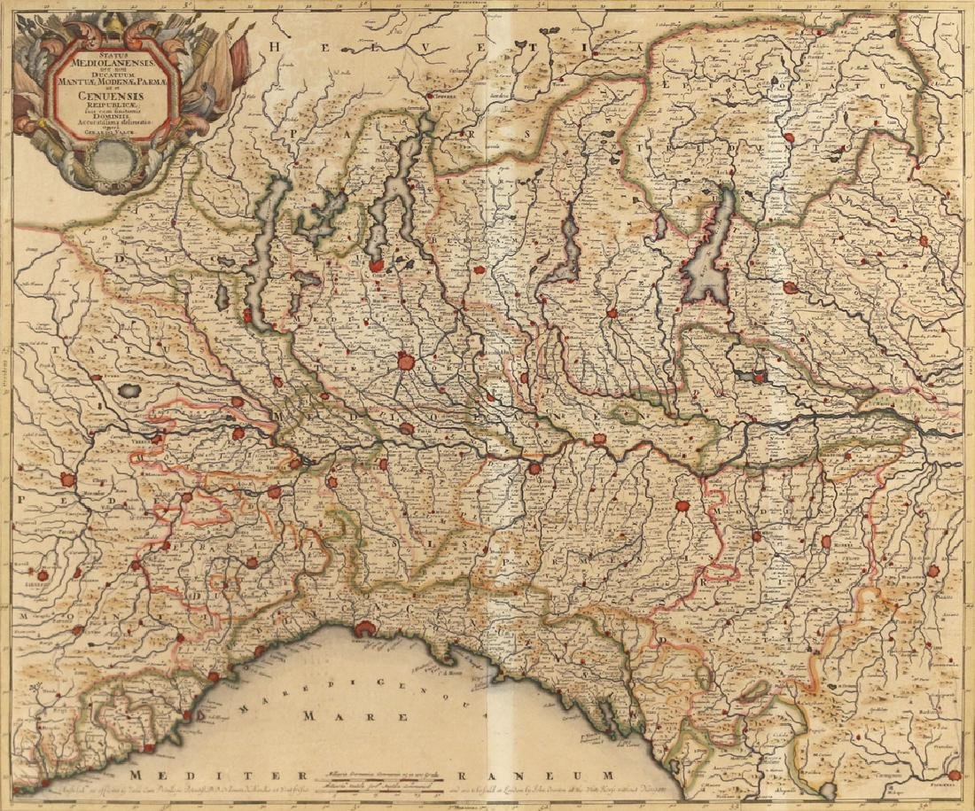 (2pc) HAND-COLORED ENGRAVED MAPS OF ITALY - 3