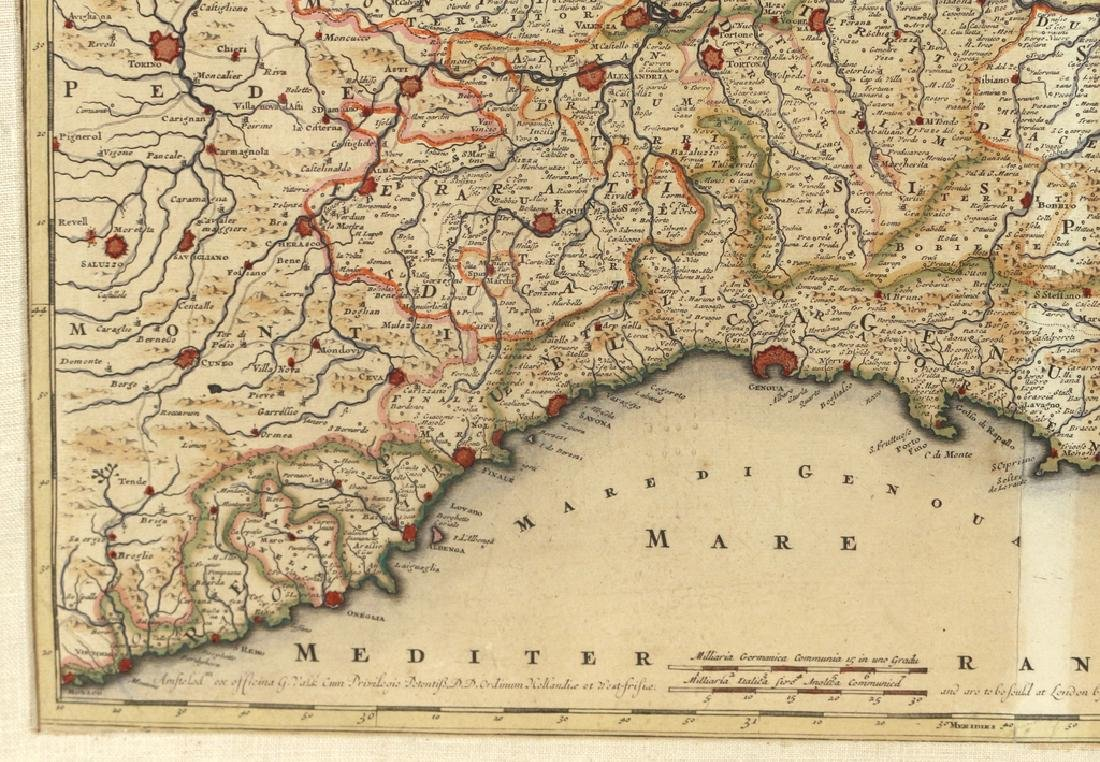 (2pc) HAND-COLORED ENGRAVED MAPS OF ITALY - 7