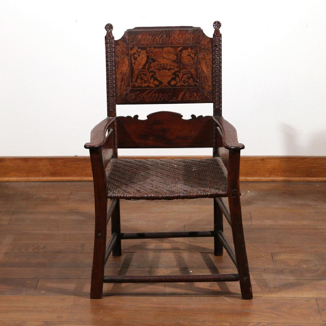 DUTCH MARQUETRY OAK ARMCHAIR