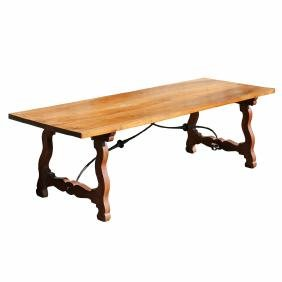 SPANISH BAROQUE-REVIVAL TRESTLE-BASE TABLE