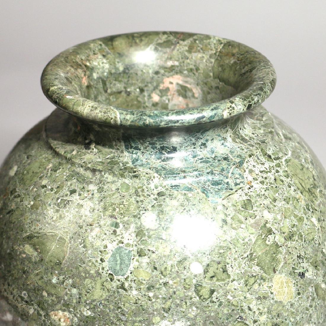 GREEN TURNED MARBLE VASE - 2