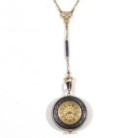 LONGINES ENAMELED GOLD PENDANT WATCH