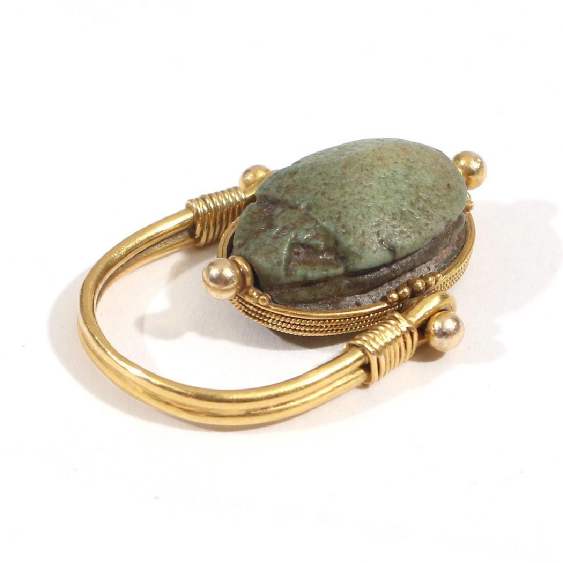 EGYPTIAN FAIENCE SCARAB SWIVEL RING