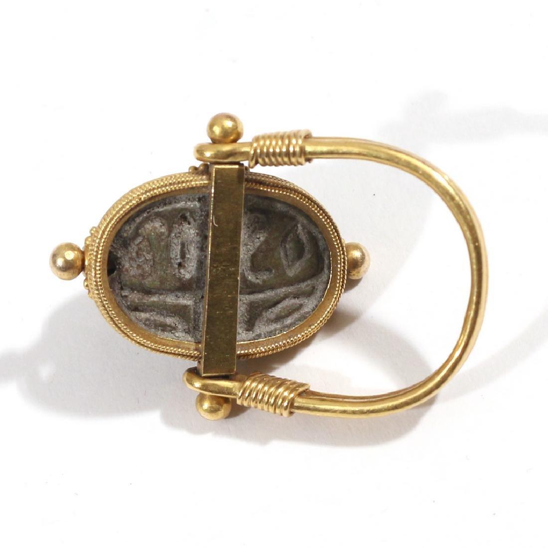 EGYPTIAN FAIENCE SCARAB SWIVEL RING - 4