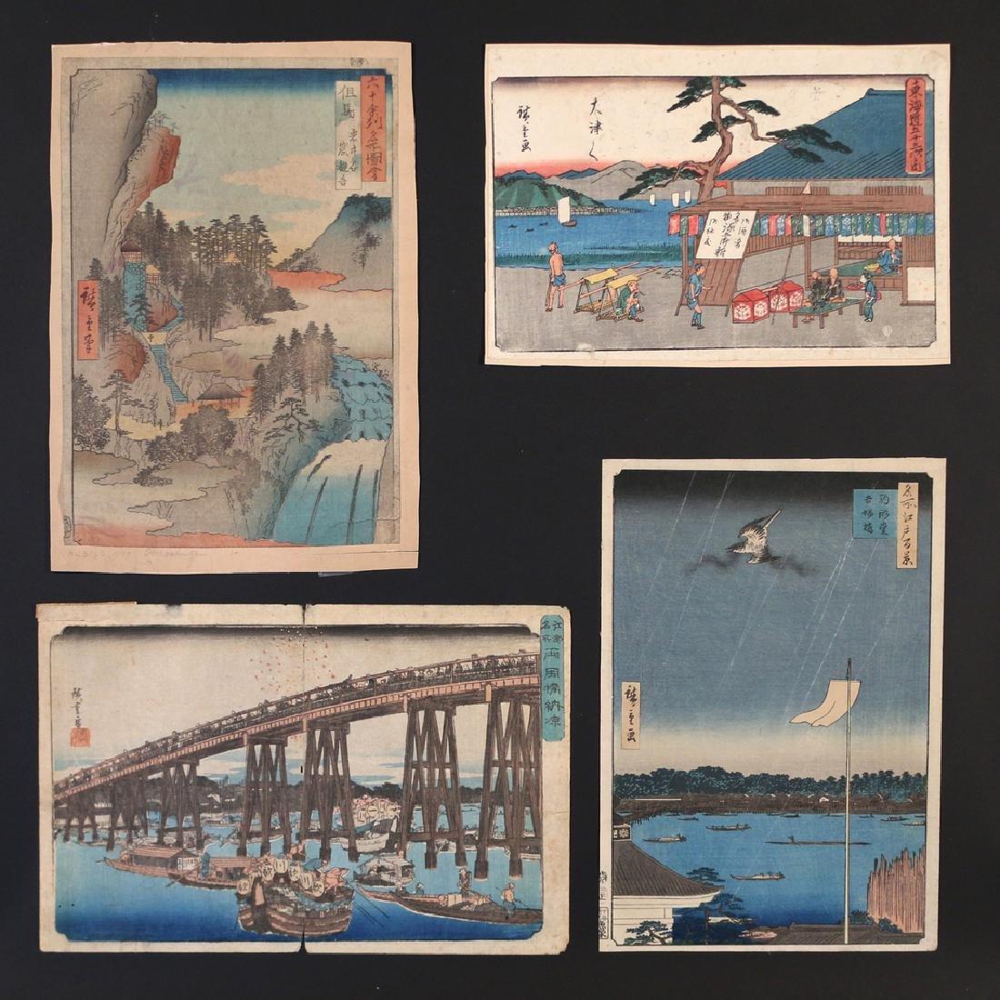 (4pc) EARLY UTAGAWA HIROSHIGE WOODBLOCK PRINTS