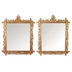PAIR NATURALISTIC CARVED WOOD MIRRORS
