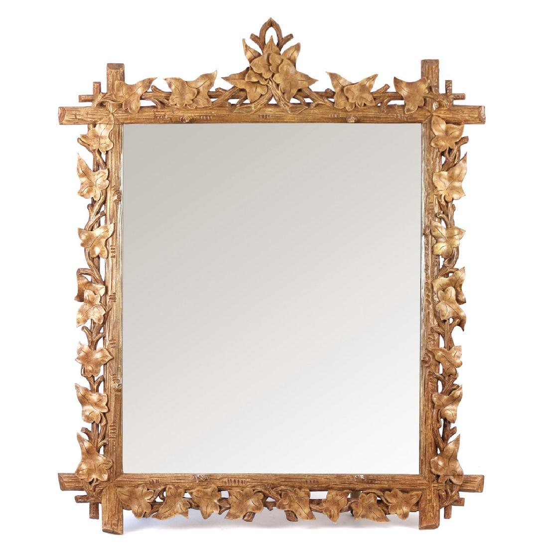 PAIR NATURALISTIC CARVED WOOD MIRRORS - 2