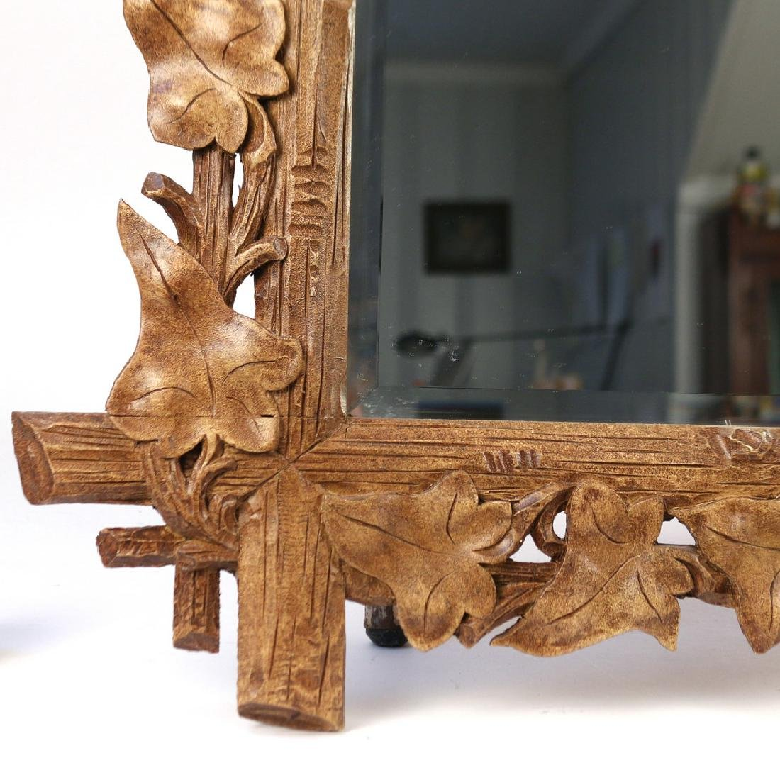 PAIR NATURALISTIC CARVED WOOD MIRRORS - 3