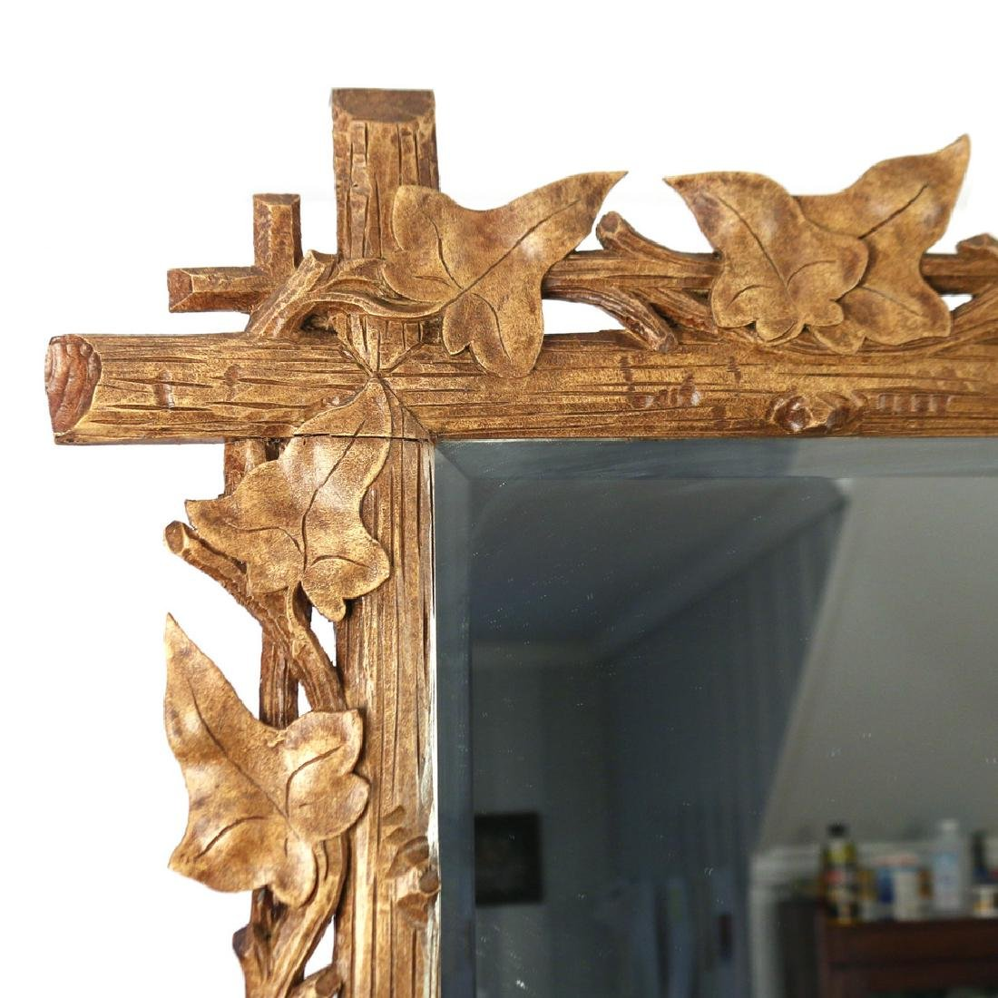 PAIR NATURALISTIC CARVED WOOD MIRRORS - 4