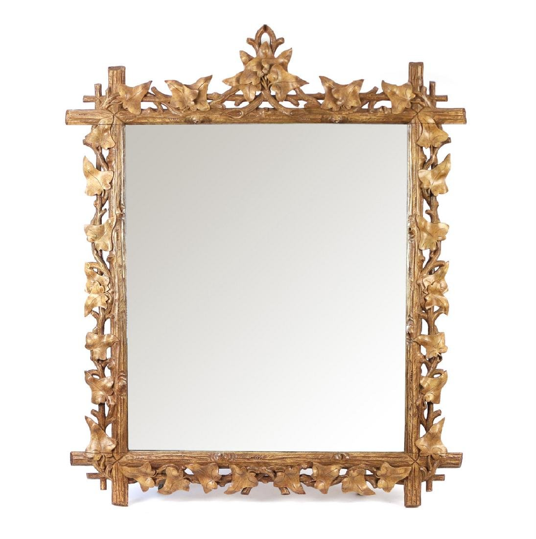 PAIR NATURALISTIC CARVED WOOD MIRRORS - 8