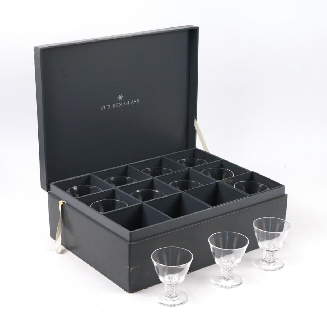(12pc) BOXED STEUBEN 'AIR TWIST' GLASSES