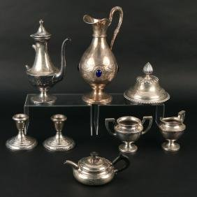 (8pc) MISC. SILVER & SILVER-PLATE ITEMS