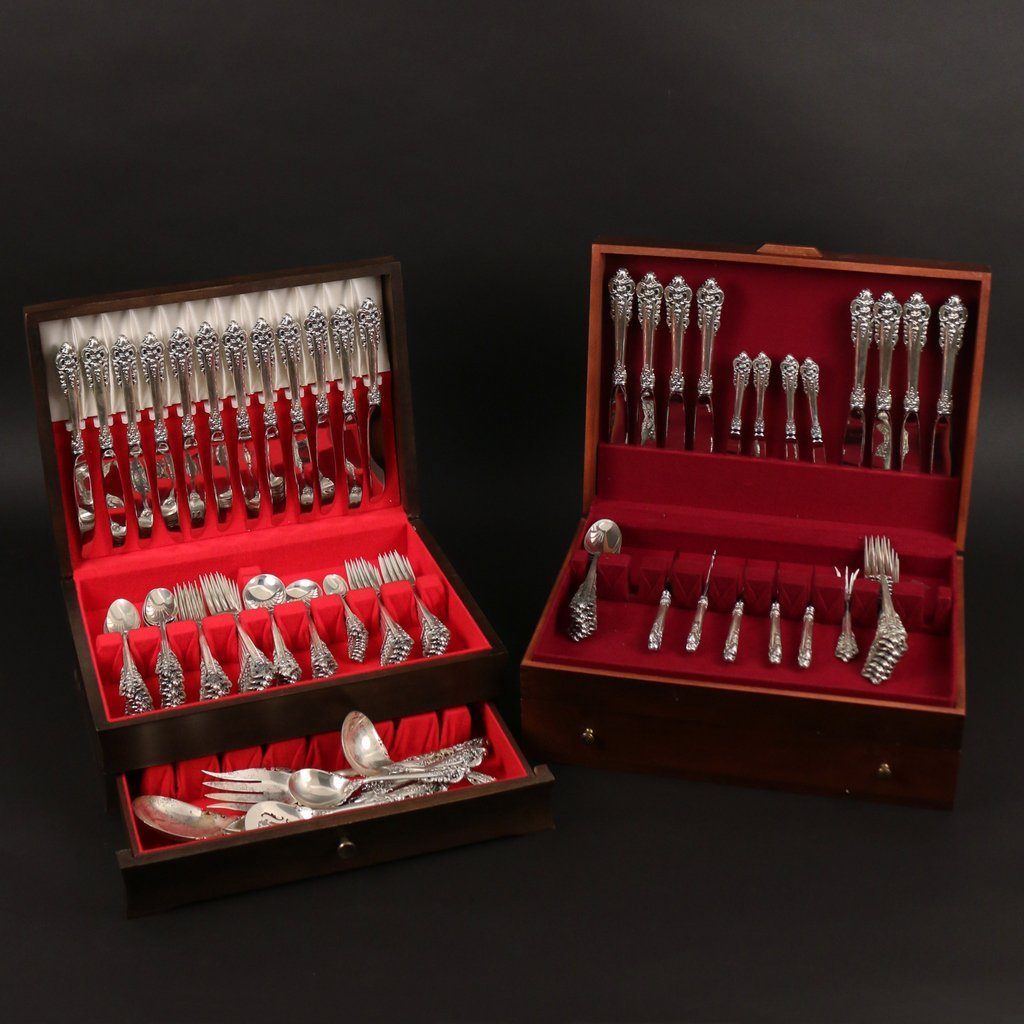 "(123pc) WALLACE STERLING GRAND BAROQUE"" FLATWARE"" - 2"