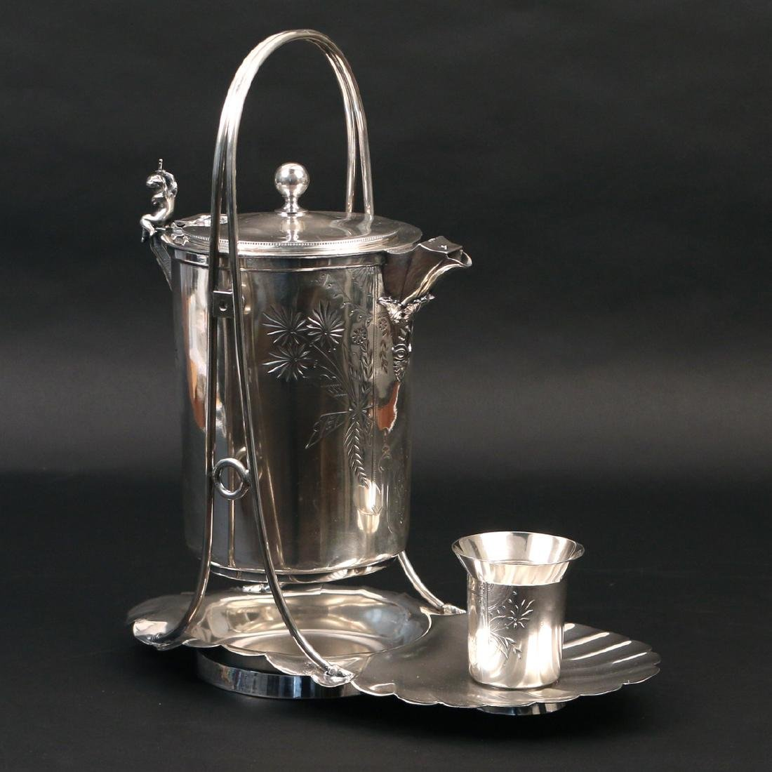 SILVER-PLATED PITCHER-ON-CRADLE