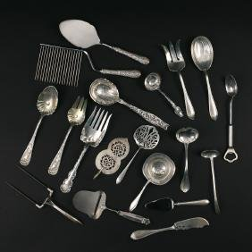 (19pc) STERLING & OTHER SERVING PIECES