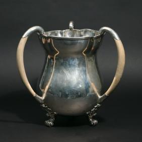 GEORGE II SILVER TRIPLE HANDLE LOVING CUP