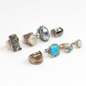 (8pc) STERLING SILVER RINGS