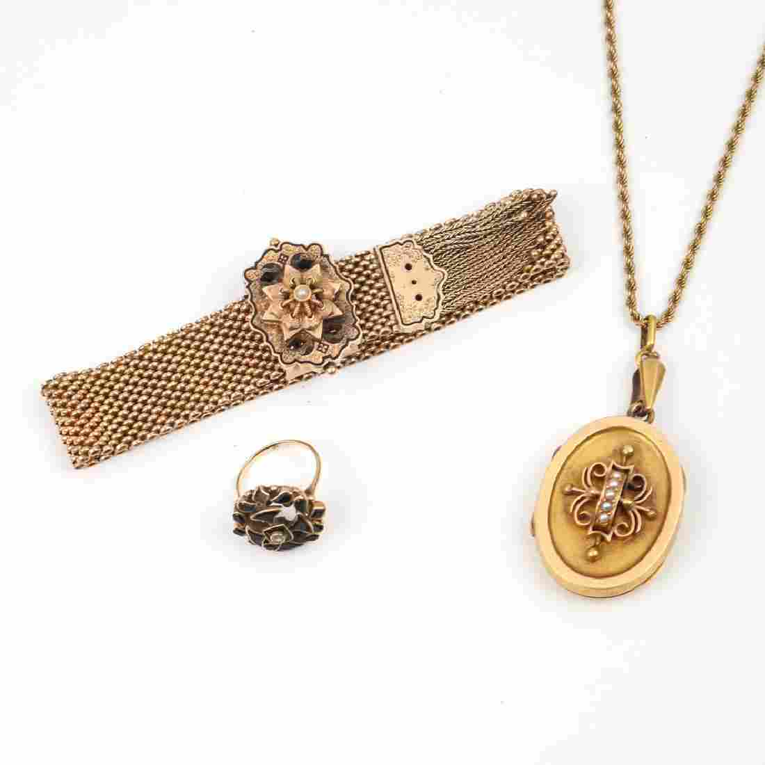 (3pc) VICTORIAN GOLD & OTHER JEWELRY