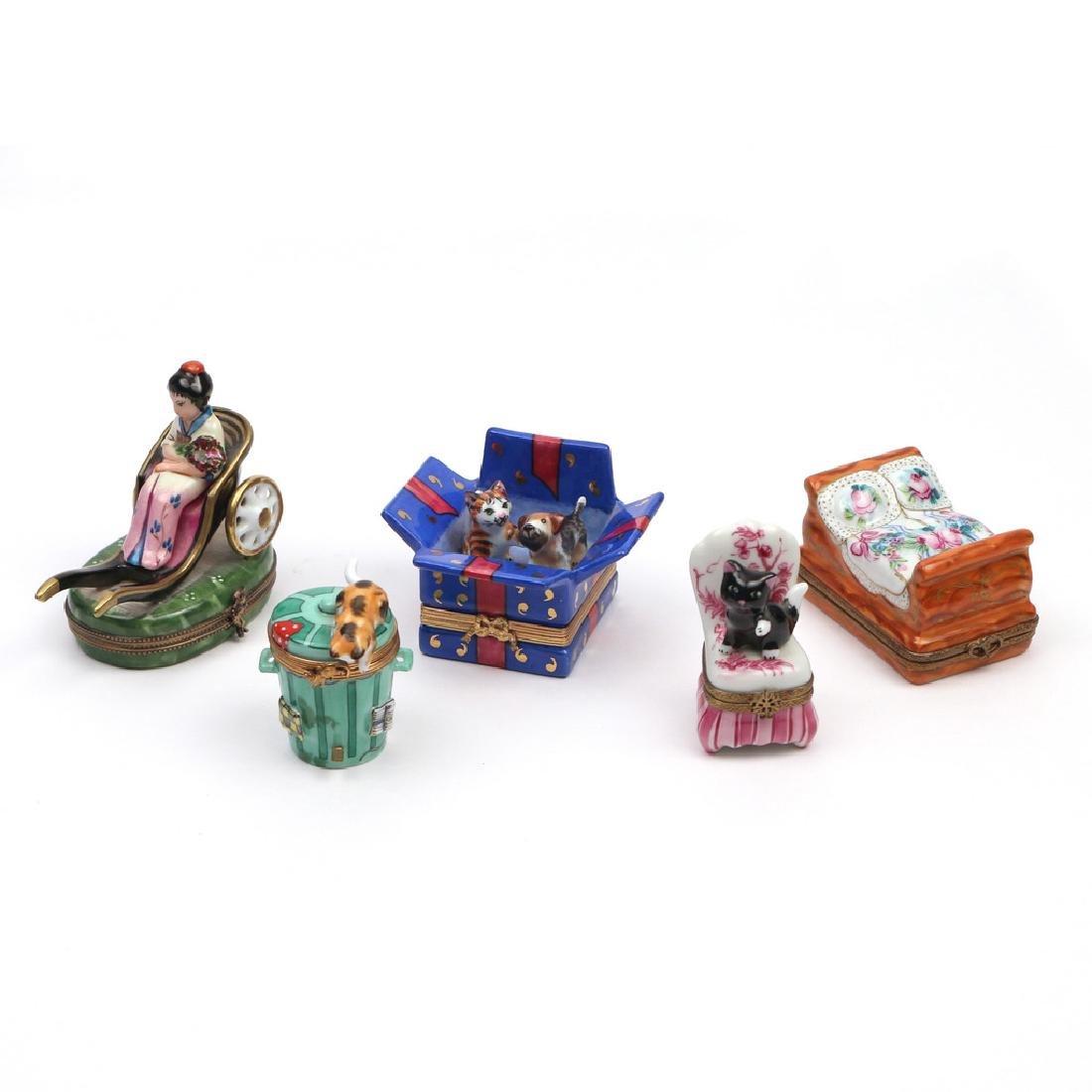 (5pc) LIMOGE ENAMELED BOXES
