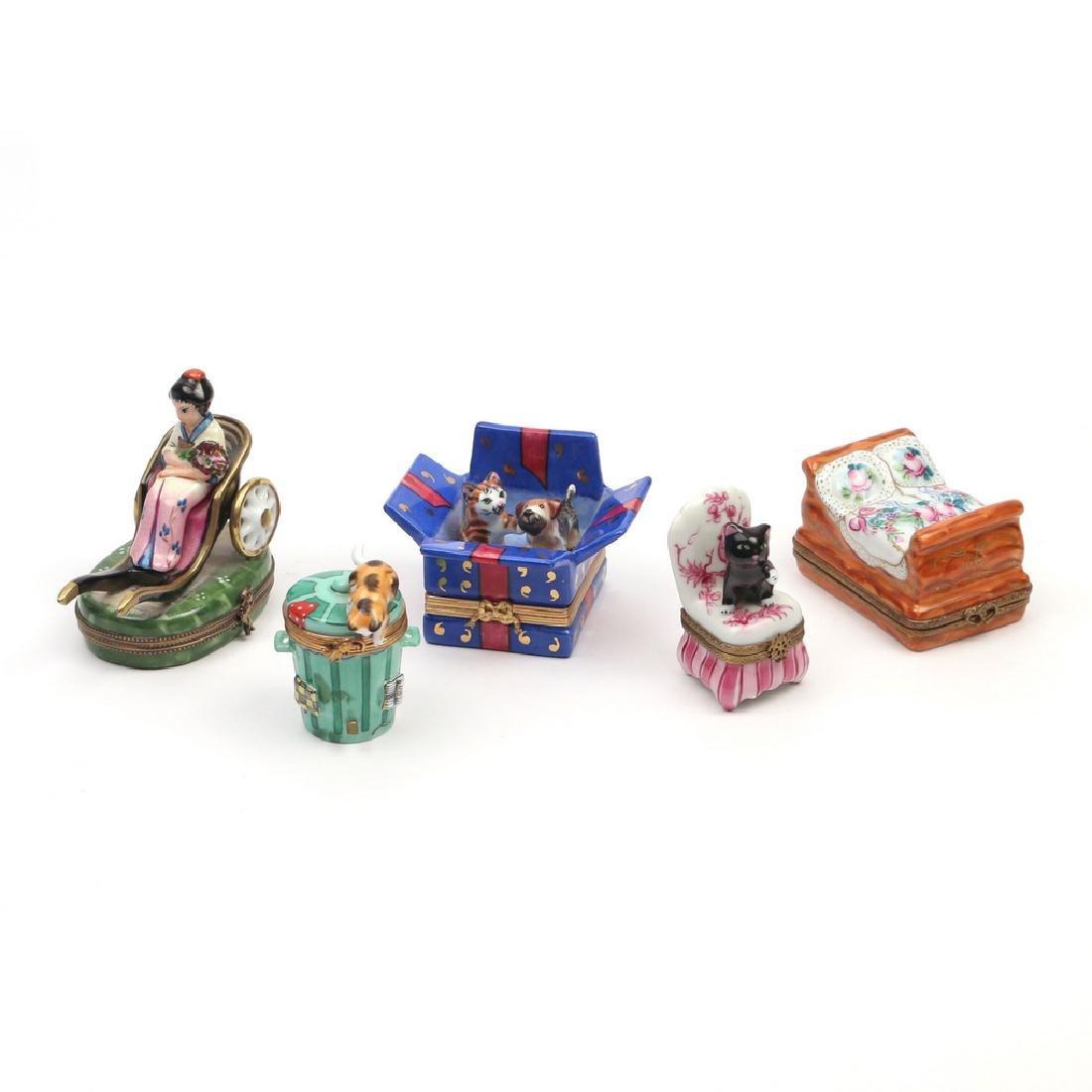 (5pc) LIMOGE ENAMELED BOXES - 2