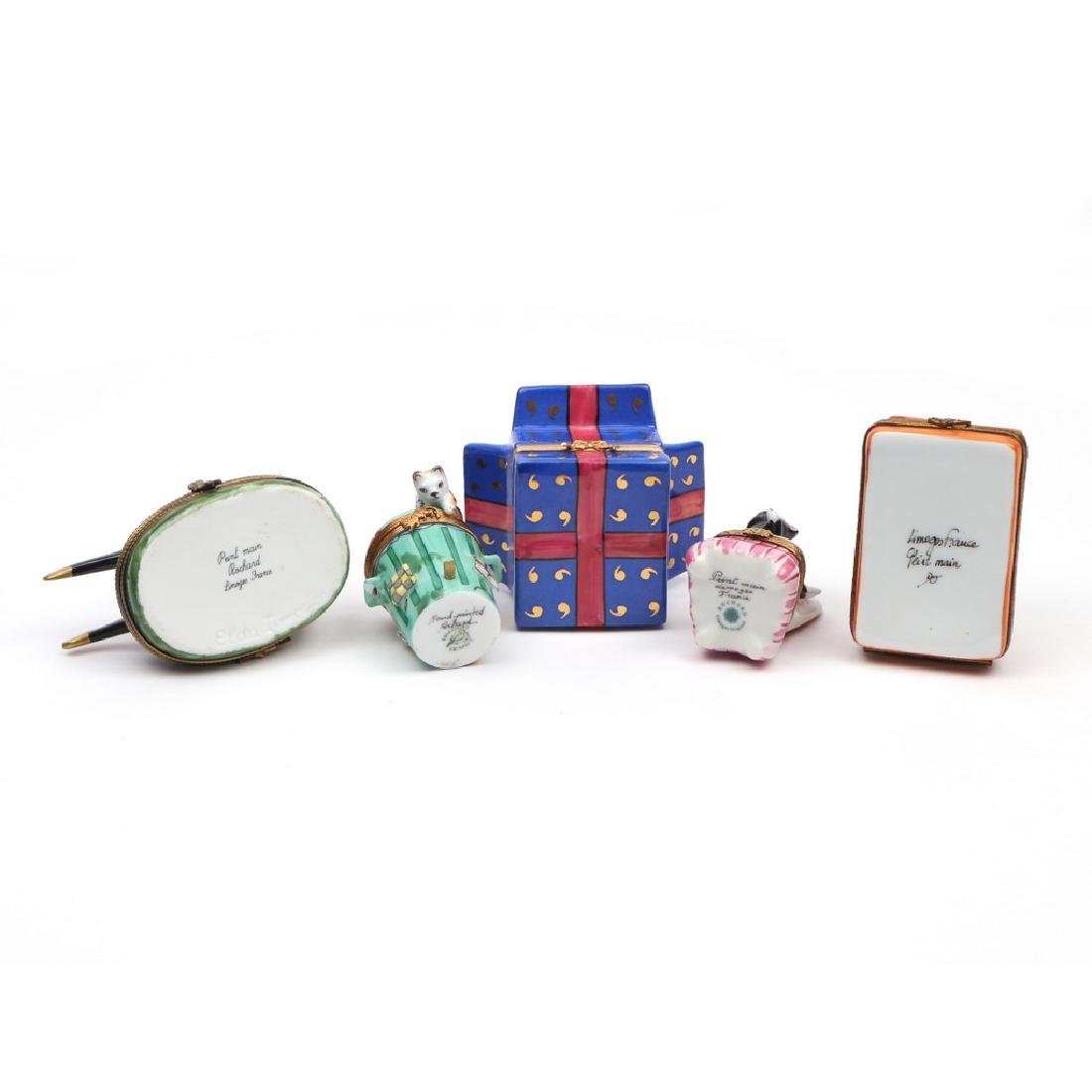 (5pc) LIMOGE ENAMELED BOXES - 3