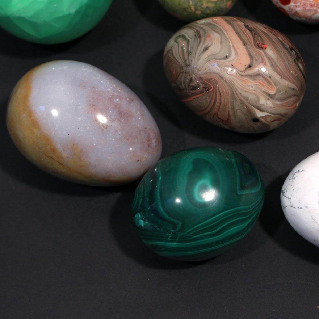 (13pc) VARIOUS STONE, GEMSTONE, & OTHER EGGS - 2