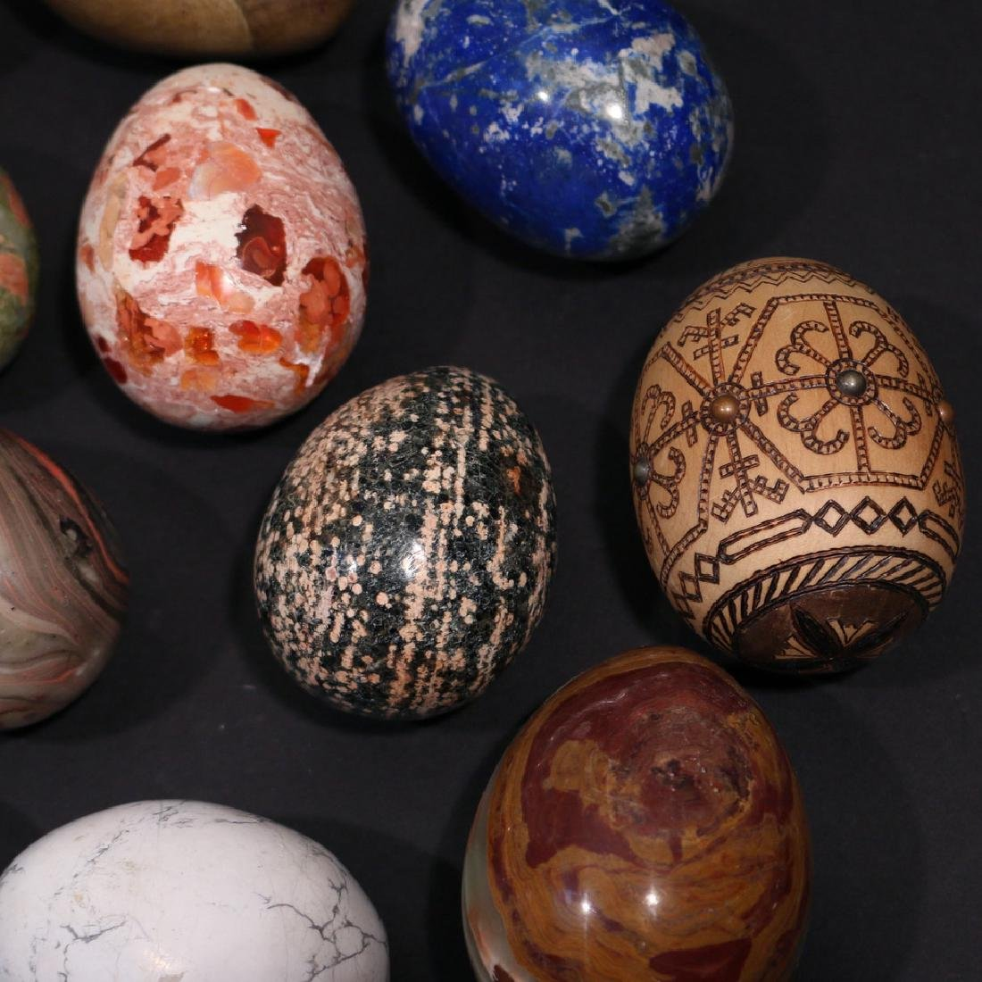 (13pc) VARIOUS STONE, GEMSTONE, & OTHER EGGS - 4