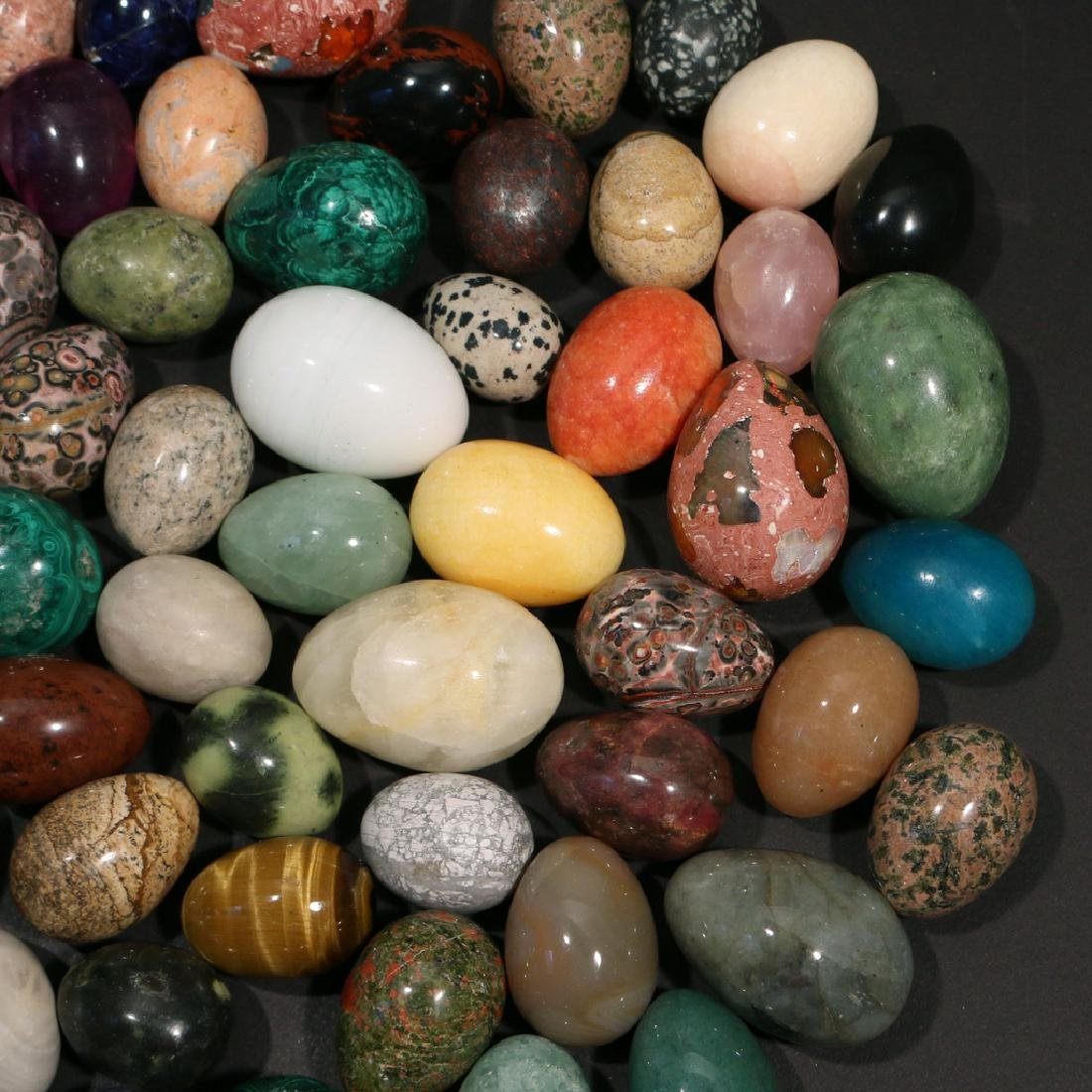 (67pc) SMALL STONE & GEMSTONE CARVED EGGS - 3