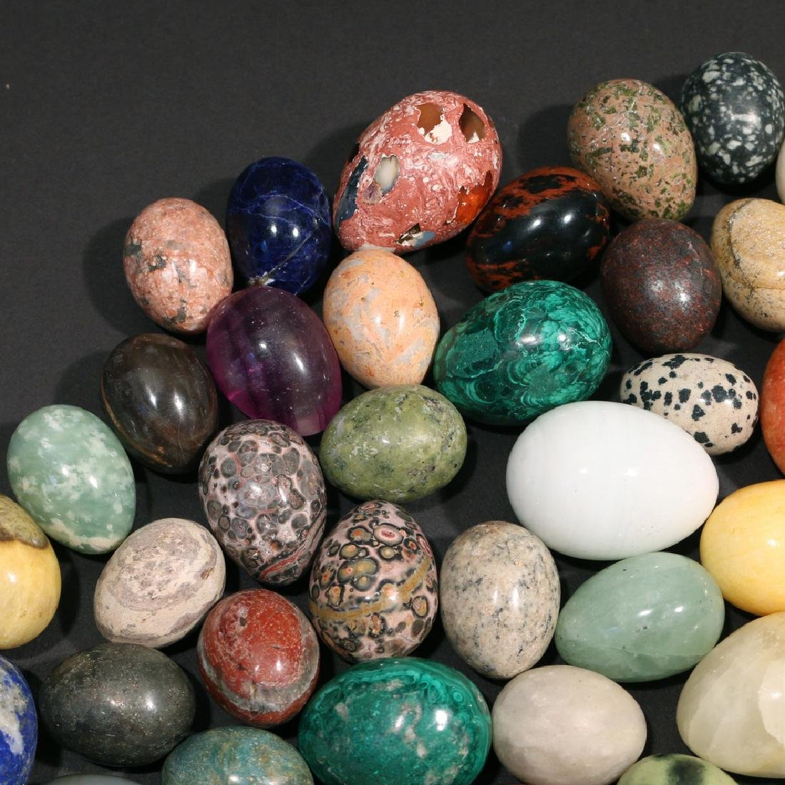 (67pc) SMALL STONE & GEMSTONE CARVED EGGS - 4