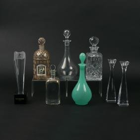 (8pc) MISC. GLASS AND DECANTERS