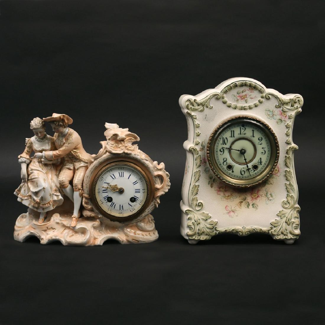 (2pc) PORCELAIN MANTEL CLOCKS