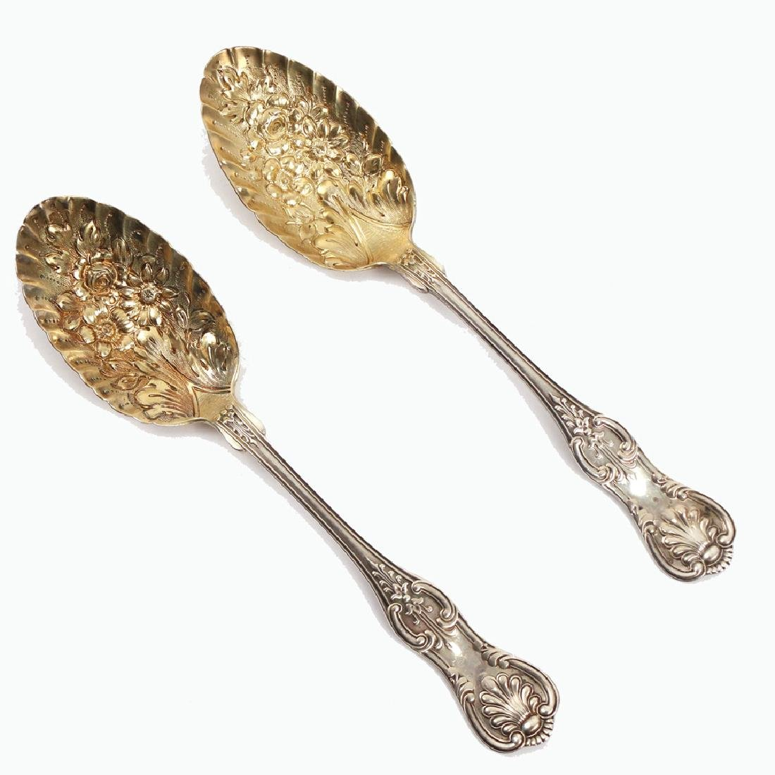 (2pc) PAIR J.E. CALDWELL GILT BERRY SCOOPS