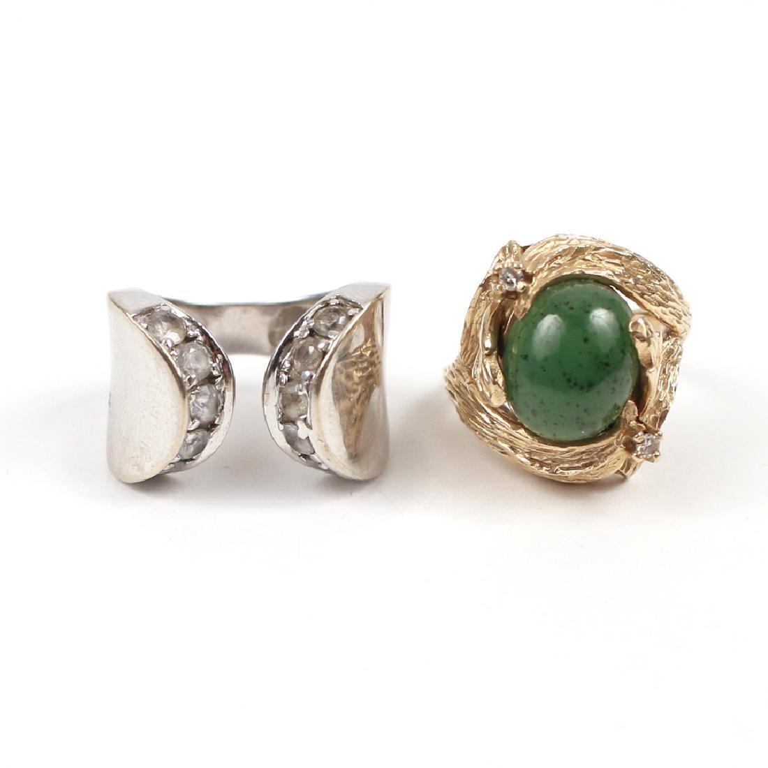 (2pc) GEMSTONE & GOLD RINGS