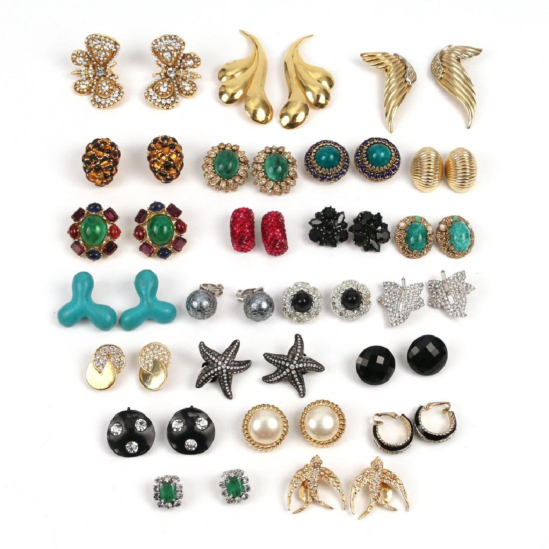 (46pc) 23 PAIRS VARIOUS COSTUME CLIP EARRINGS