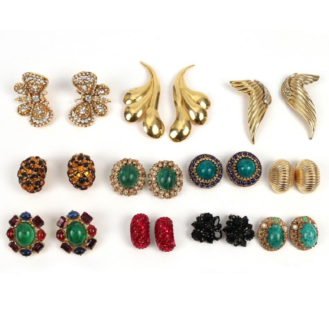 (46pc) 23 PAIRS VARIOUS COSTUME CLIP EARRINGS - 3