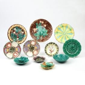 (11pc) MISC. MAJOLICA DISHES