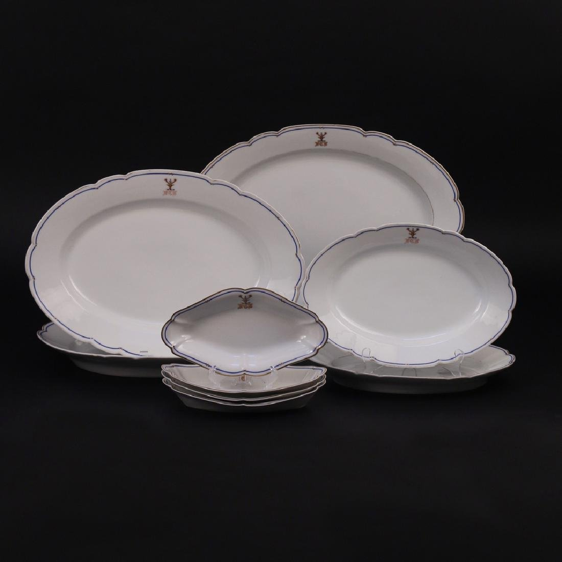 (9pc) ARMORIAL PARIS PORCELAIN SERVING TRAYS