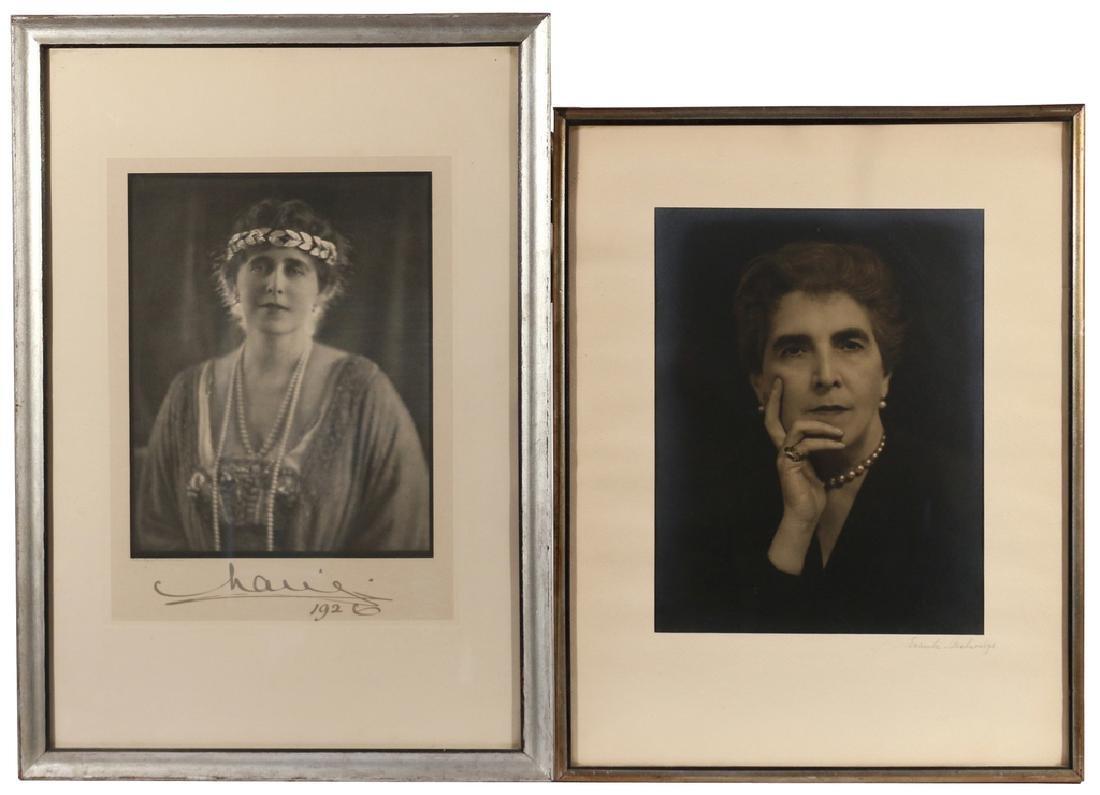 (2pc) MARIE OF ROMANIA SIGNED PORTRAIT
